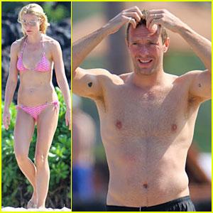 Gwyneth Paltrow: Pink Bikini Mama with Shirtless Chris Martin!