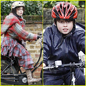 Helena Bonham Carter Bikes in the Rain with Son Billy!