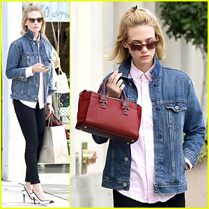 January Jones Supports Denver Broncos Before Super Bowl 2014