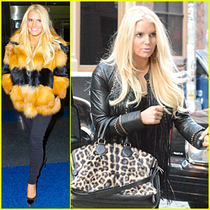Jessica Simpson Sports Fur Coat For JFK Departure!
