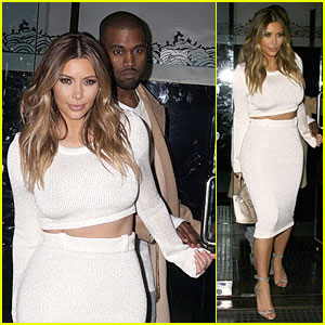 Kim Kardashian Bares Midriff For Dinner with Kanye West!