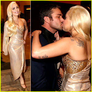 Lady Gaga Kisses Taylor Kinney at Golden Globes Party 2014!