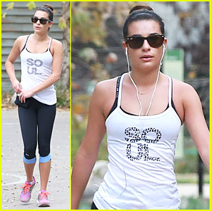 Lea Michele Jogs Before 'Glee' Rehearsal with Gwyneth Paltrow!