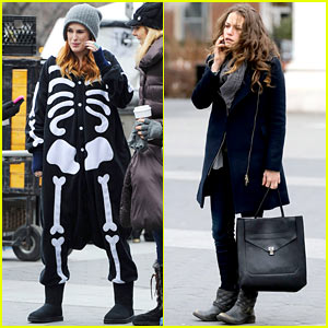 Rumer Willis Wears Skeleton Jumpsuit on 'Songbyrd' Set