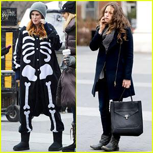 Rumer Willis Wears Skeleton Jumpsuit on 'Songbyrd' Set