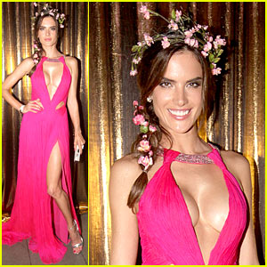 Alessandra Ambrosio Shows Off All Her Assets with Plunging Neckline & High Leg Slit