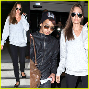 Angelina Jolie & Maddox Depart LAX Airport Sans Brad Pitt on Valentine's Day!
