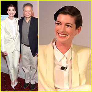 Anne Hathaway Suits Up to Toast Director Ang Lee
