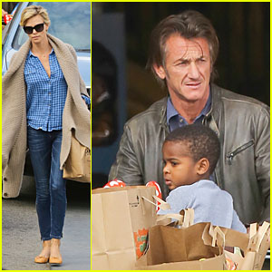 Charlize Theron & Sean Penn: Grocery Stop Before the Super Bowl!