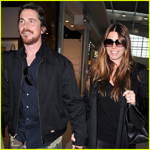 Christian Bale & Wife Sibi Blazic Fly Out After BAFTAs 2014