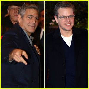 George Clooney & Matt Damon Land in Milan Ahead of 'The Monuments Men' Premiere