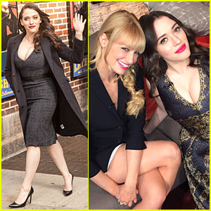 Kat Dennings Bares Cleavage for '2 Broke Girls' Promo Tour!