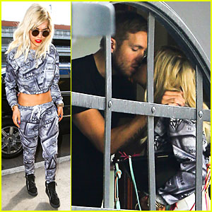 Rita Ora Kisses Calvin Harris in Credit Card Inspired Outfit!