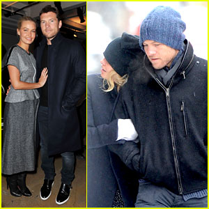 Sam Worthington & Lara Bingle Warm Up at Dion Lee Show