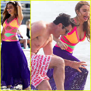 Sofia Vergara Rocks Colorful Monokini for 'Modern Family' Sydney Filming