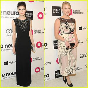 Alexandra Daddario & Leven Rambin - Elton John Oscars Party 2014