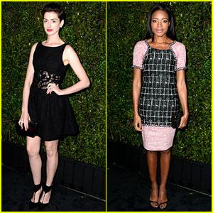 Anne Hathaway & Naomie Harris: Pre-Oscars Dinner 2014!