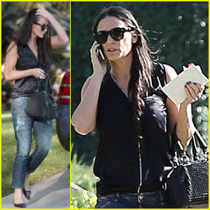Demi Moore Attends Pal's Birthday Party in Cute Boyfriend Jeans