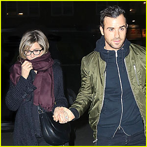 Jennifer Aniston & Justin Theroux Hold Hands on Ro