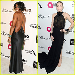 Kelly Rowland & Skylar Grey Heat Up Elton John Oscars Party with Revealing Dresses!