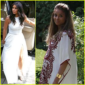 kim kardashian slits it up for ciara s baby shower ciara kim