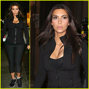 Kim Kardashian Makes Us Sweat with Major Cleavage at SoulCycle!