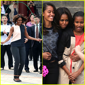 Michelle Obama Jumps Rope in China with Her Daughters!