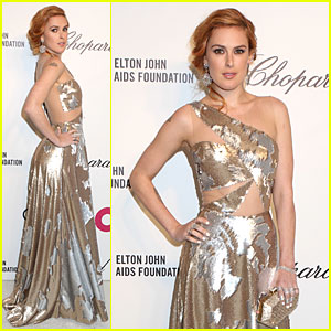 Rumer Willis Stuns in Metallic Dress at Elton John Oscars Party 2014