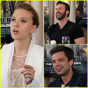 Scarlett Johansson Flashes Engagement Ring at 'Captain America' Press Confere