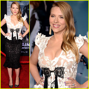 Scarlett Johansson Debuts Pregnant Body in Lace Dress at 'Captain America 2' Premier