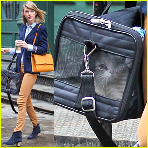Taylor Swift Brings Her Pet Cat Meredith Around NYC in Travel Carrier!