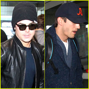Zac Efron & Ashton Kutcher Fly Out of Austin After SXSW