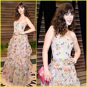 Zooey Deschanel Rocks Floral & Ruffles at Vanity Fair Oscars Party 2014