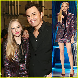 Amanda Seyfried Is Sparkling Purple as a MTV Movie Awards Presenter!