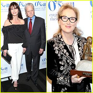 Catherine Zeta-Jones & Michael Douglas Help Honor Meryl Streep with Monte Cristo Award!