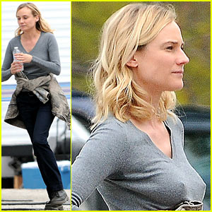Diane Kruger Gets Direction from Crew Member on 'The Bridge