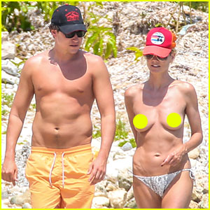 Heidi Klum Goes Topless in Mexico with Boy
