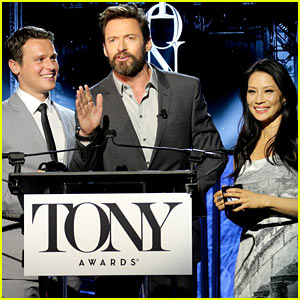 Hugh Jackman Surprises Jonathan Groff & Lucy Liu at Tony Awards Nominations Ceremony 2014!