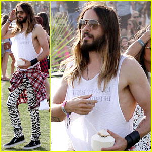 Jared Leto Rocks Zebra Print Pants for Coachella Day Two!