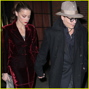 Johnny Depp Takes Fiancee Amber Heard Out for Early