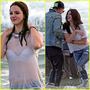 Lana Del Rey's Wet White T-Shirt Becomes Completely Sheer on Video Shoot!