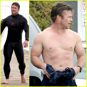 Luke Hemsworth Goes Shirtless at the Beach,