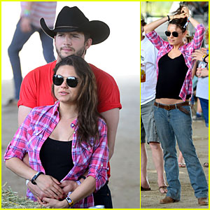 Mila Kunis Flashes Small Baby Bump at Stagecoach Festival with Fiance Ashton Kutcher!