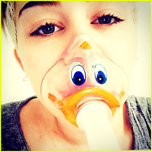 Miley Cyrus Can Still Joke Around with Duck-Face Oxygen Mask!