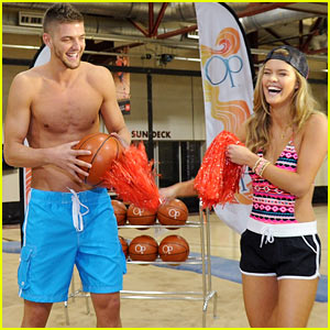 Nina Agdal & Shirtless Hottie Chandler Parsons Play Basketball for Op's Dunks for Donation Event