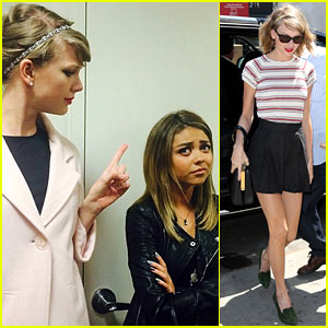 Taylor Swift Gives Her Pal Sarah Hyland the Finger - Check Out the Funny Pic!