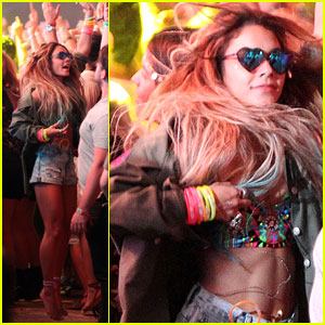 Vanessa Hudgens Sees Hearts While Dancing at Coachell