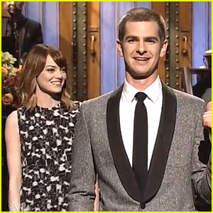 Emma Stone Gives Andrew Garfield Advice During 'SNL' Opening Monologue! (Video)
