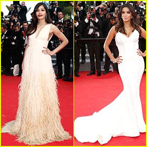 Freida Pinto & Eva Longoria Wow Us at 'Saint Laurent' Cannes Premiere!