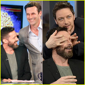 Hugh Jackman & Jon Hamm Have a Bromance Moment, Pal Around at 'GMA'!